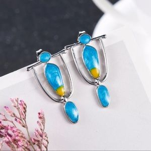 Blue Stone Vintage Statement Earrings